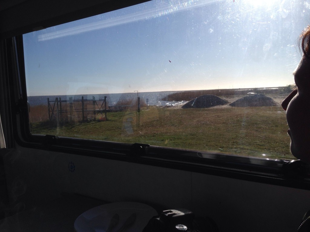 Bjerregård Camping - Blick vom Womo auf den Kitespot