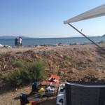 Blick vom Wohnmobil direkt auf das Wasser und den Kitespot. Super!!